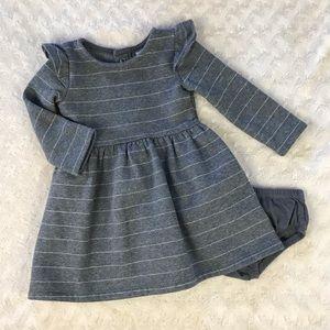 Carter's Gray Dress Gold Metallic Stripes 9 Months